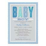 Baby Boy Shower | Chic Type in Blue and Gray 5x7 Paper Invitation Card