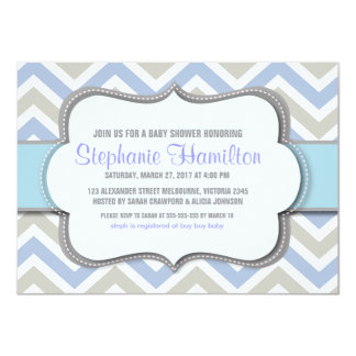 Baby boy shower colorful chevron 4.5x6.25 paper invitation card