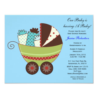 """Baby Boy Shower, Cute Baby Carriage with Gifts, 4.25"""" X 5.5"""" Invitation Card"""