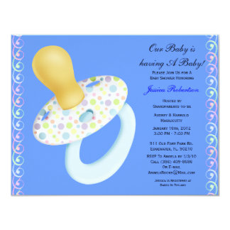 """Baby Boy Shower, Cute Baby Umbrella with Gifts, 4.25"""" X 5.5"""" Invitation Card"""