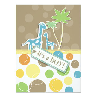 Baby Boy Shower Dots giraffe Invitation Card