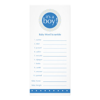 Baby boy Shower Games-blue Full Color Rack Card