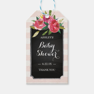 Baby Boy Shower Gift Tags - Pink Stripes