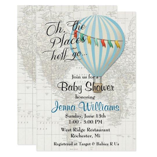 Baby Boy Shower Hot Air Balloon Invitation Zazzle Com