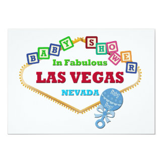 Baby Boy Shower in Las Vegas Card Blue Rattle