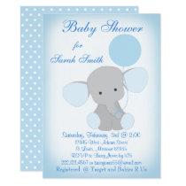 Baby Boy Shower Invitation Elephant Blue Gray