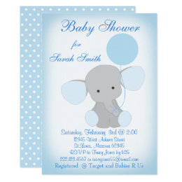 Boy Elephant Baby Shower Invitations Announcements Zazzle