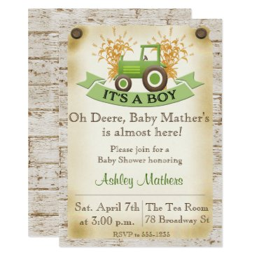 Toddler & Baby themed Baby Boy Shower Invitation - Green Tractor