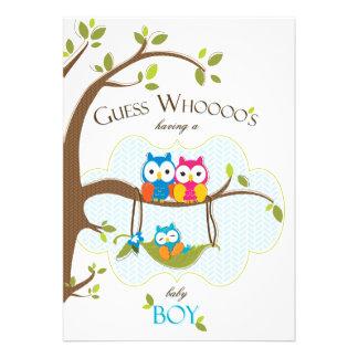Baby Boy Shower Invitation - Owl Family