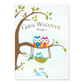Baby Boy Shower Invitation - Owl Family