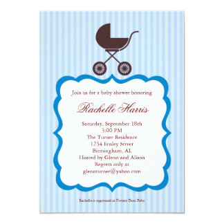 Baby Boy Shower Invitation with Stroller