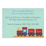 Baby Boy Shower Invite: Yellow, Red & Blue Train
