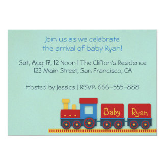 Baby Boy Shower Invite: Yellow, Red & Blue Train Card