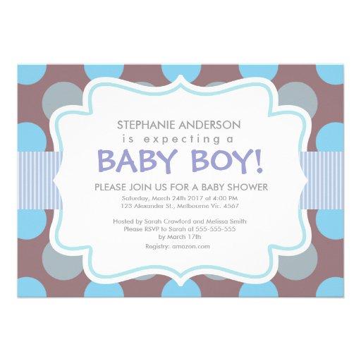 baby boy shower polka dots stripes vertical frame 5x7 paper invitation
