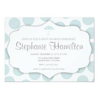 Baby boy shower polka dots umbrella frame blue invitations