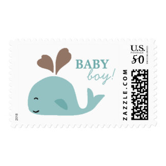 Baby Boy Shower Postage I Nautical Blue Whale