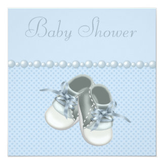 Baby Boy Shower Shoes, Clothes, Pearls & Hearts Card