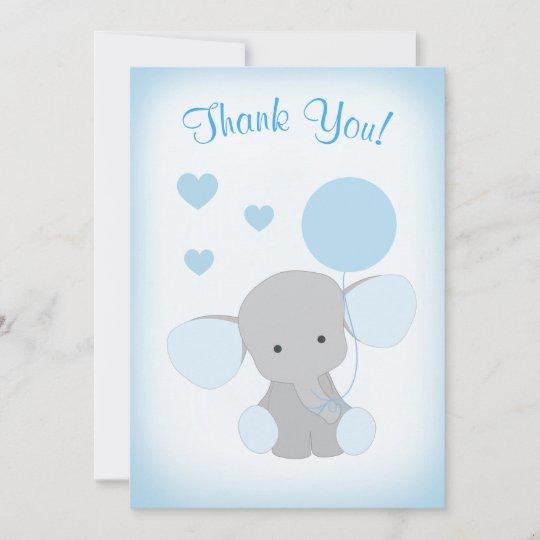 Baby Boy Shower Thank You Card Elephant Blue Gray Zazzle