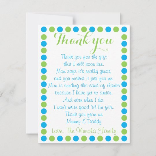 Baby Boy Shower Thank You Card From Baby Zazzle
