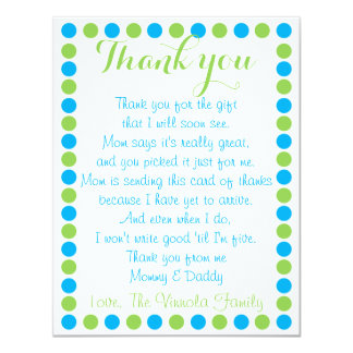 Baby boy shower thank you card from baby
