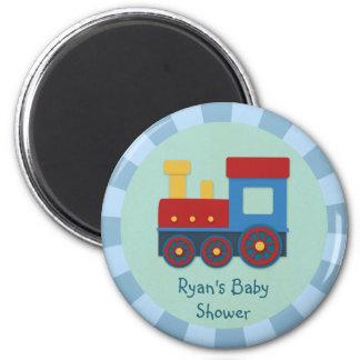 Baby Boy Shower: Yellow, Red & Blue Train 2 Inch Round Magnet
