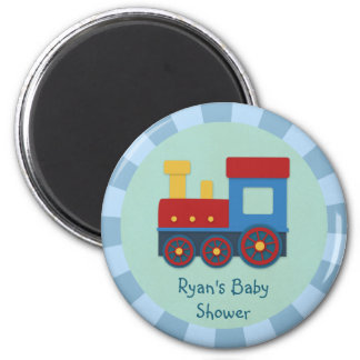 Baby Boy Shower: Yellow, Red & Blue Train Magnet