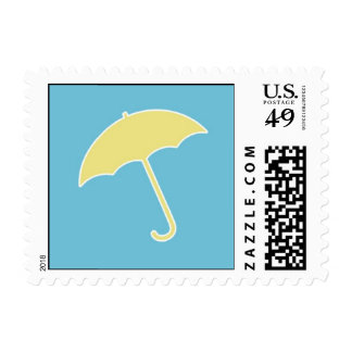 Baby Boy Shower Yellow Umbrella Small Postage