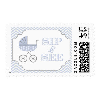 Baby Boy Sip and See Blue Chevron Stamps