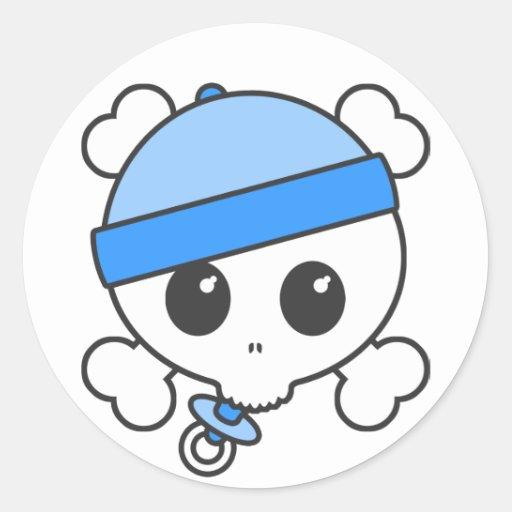 Baby Boy Skully Classic Round Sticker