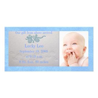 Baby Boy Slipper Photo Card Announcement
