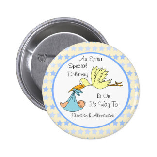 Baby Boy Special Delivery Stork Baby Shower Favor Button