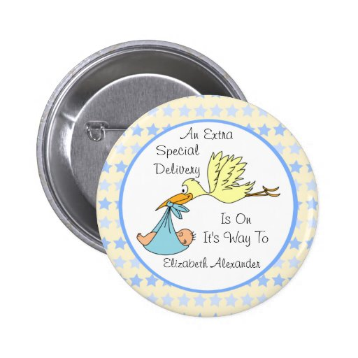 Baby Boy Special Delivery Stork Baby Shower Favor Pinback Buttons