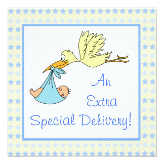 Baby Boy Special Delivery Stork Stars Baby Shower Personalized Announcements