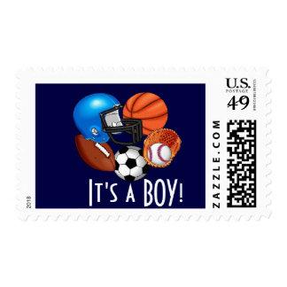 Baby boy sports announcementstamp postage
