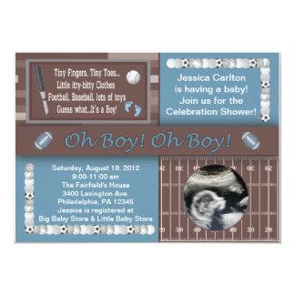 Baby boy sports shower 5x7 paper invitation card