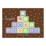 "Baby Boy Sprinkle Shower Invitation - Baby Blocks 5"" X 7"" Invitation Card"