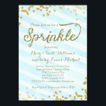 "Baby Boy Sprinkle Shower Invitation blue gold<br><div class=""desc"">matching thank you cards,  stamps,  favor tags,  etc are available. email seasidepapercompany@gmail.com for more info. Thanks!</div>"