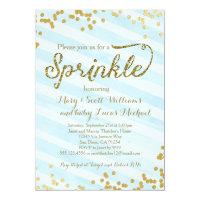 Baby Boy Sprinkle Shower Invitation blue gold