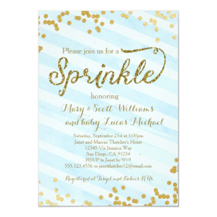 Baby Boy Sprinkle Shower Invitation Blue Gold at Zazzle