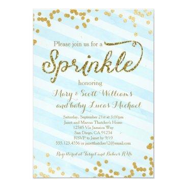 Toddler & Baby themed Baby Boy Sprinkle Shower Invitation blue gold