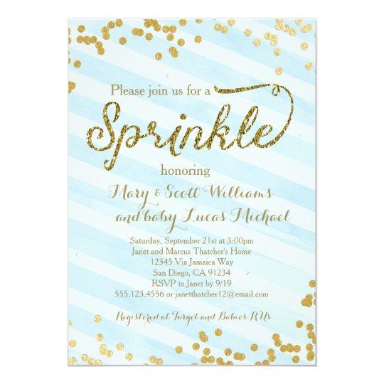 baby boy sprinkle shower invitation blue gold zazzle com