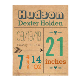 Baby Boy Stats Cute Arrow on Cork Canvas Photo Cork Paper