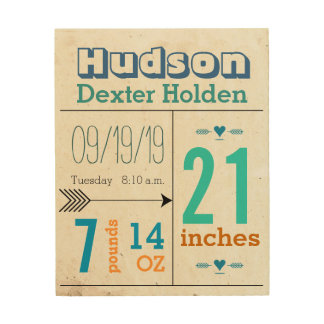 Baby Boy Stats on Wood Canvas Wood Wall Art