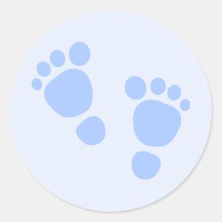 Baby Boy Sticker, Blue Feet Classic Round Sticker