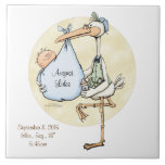 """Baby Boy Stork Delivery Custom Tile<br><div class=""""desc"""">Announce the birth of a new baby boy with this porcelain tile keepsake. Cherish the memories and pass along the date, time and birth info when baby was born. Personalize this item by clicking on the customize button to add a name or saying. Artwork by Lynda Bruschini. &#169; Lynda Bruschini....</div>"""