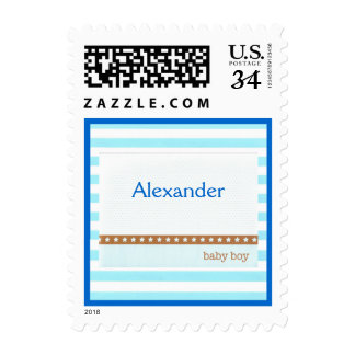 Baby Boy Stripes and Dots Postcard Postage Stamp