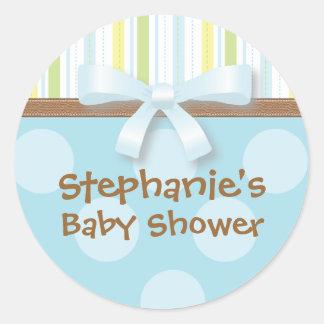 Baby Boy Stripes + Dots Blue Green Favor Sticker