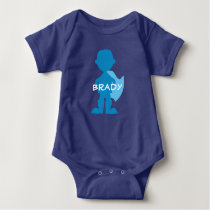 Baby Boy Superhero Blue Silhouette Personalized Baby Bodysuit