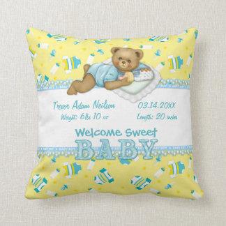 Baby Boy Teddy Bear Pillow