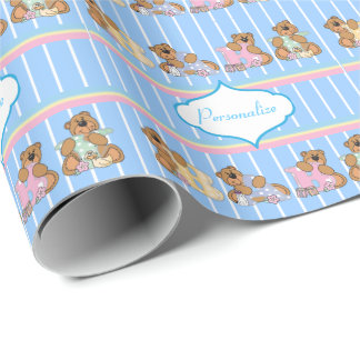 Baby Boy Teddy Bears Wrapping Paper